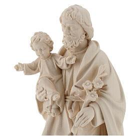 Statue Hl. Josef mit Jesus Kind Grödnertal Naturholz s2