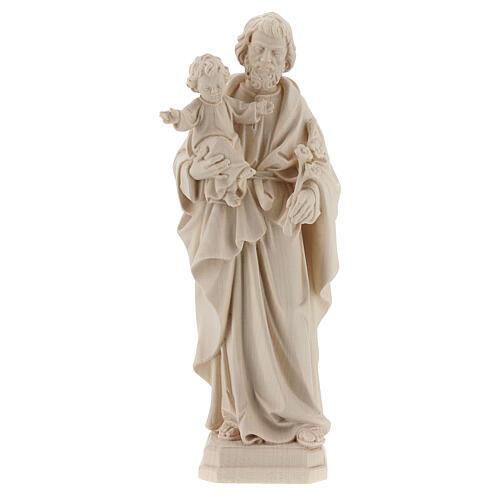 Statue Hl. Josef mit Jesus Kind Grödnertal Naturholz 1