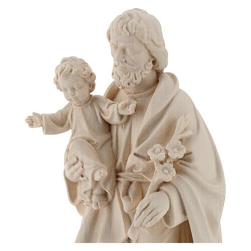 San José con Niño Jesús de madera natural