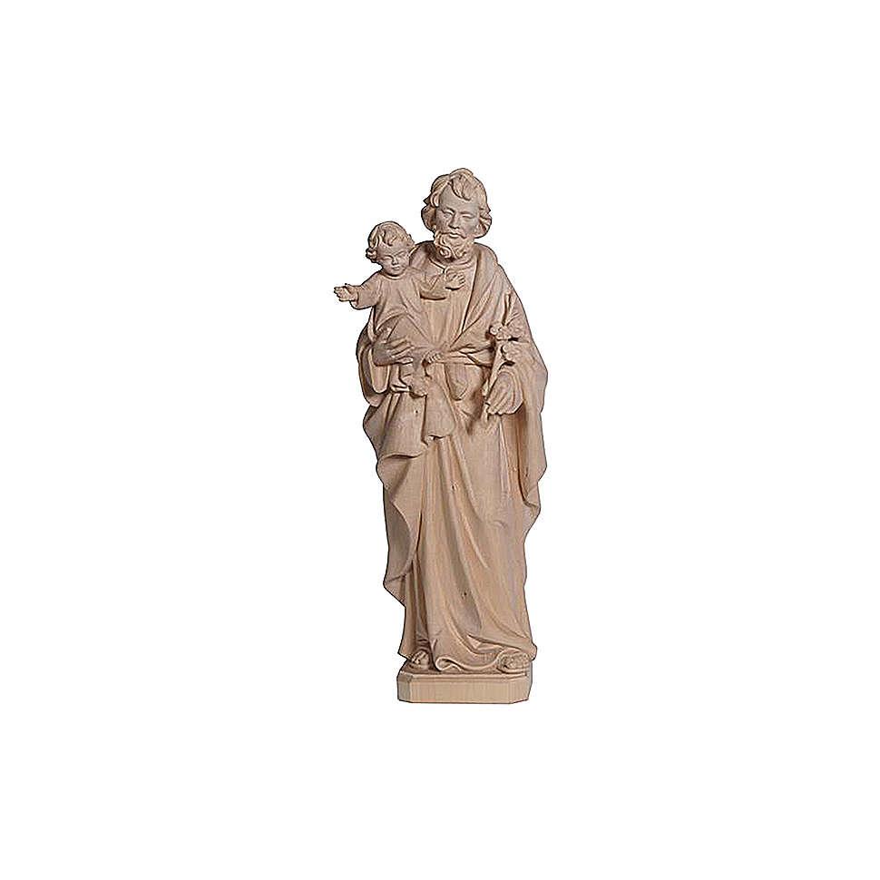 San Giuseppe con Bambin Gesù in legno naturale 4