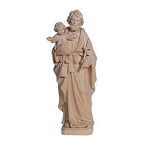 San Giuseppe con Bambin Gesù in legno naturale s1