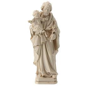 Statue Hl. Josef mit Jesus Kind Grödnertal Holz Wachs Finish s1