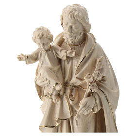 Saint Joseph and Baby Jesus statue in wax and gold thread Val Gardena s2