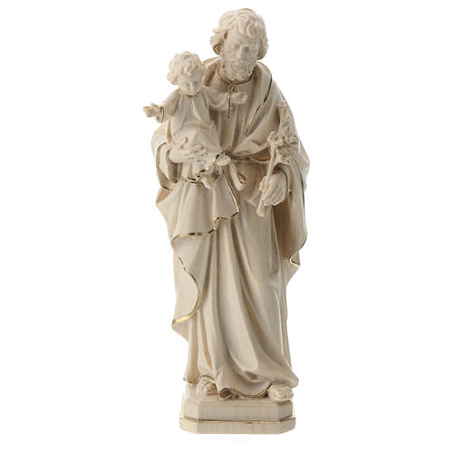 Saint Joseph and Baby Jesus statue in wax and gold thread Val Gardena 1