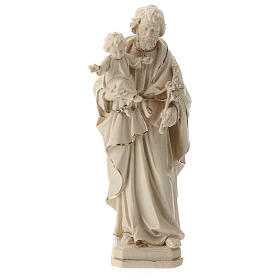 Imágenes de madera natural: San José con Jesús cera hilo oro Val Gardena