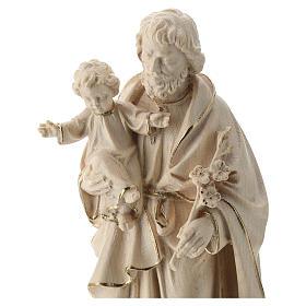 São José com o Menino Jesus cera fio ouro Val Gardena