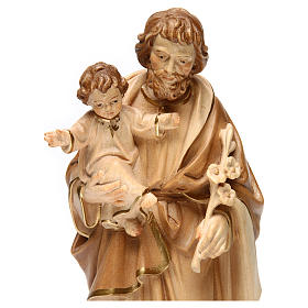 Statue Hl. Josef mit Jesus Kind Grödnertal Holz braunfarbig s2