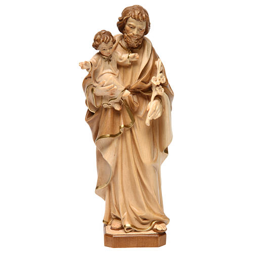Statue Hl. Josef mit Jesus Kind Grödnertal Holz braunfarbig 1