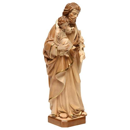 Statue Hl. Josef mit Jesus Kind Grödnertal Holz braunfarbig 4