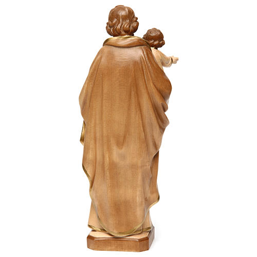 Statue Hl. Josef mit Jesus Kind Grödnertal Holz braunfarbig 5