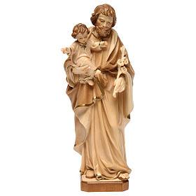 Imágenes de madera natural: San José con Niño Jesús bruñido 3 colores