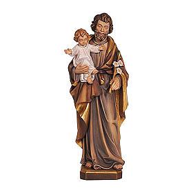 Statua San Giuseppe con Gesù colorato s1