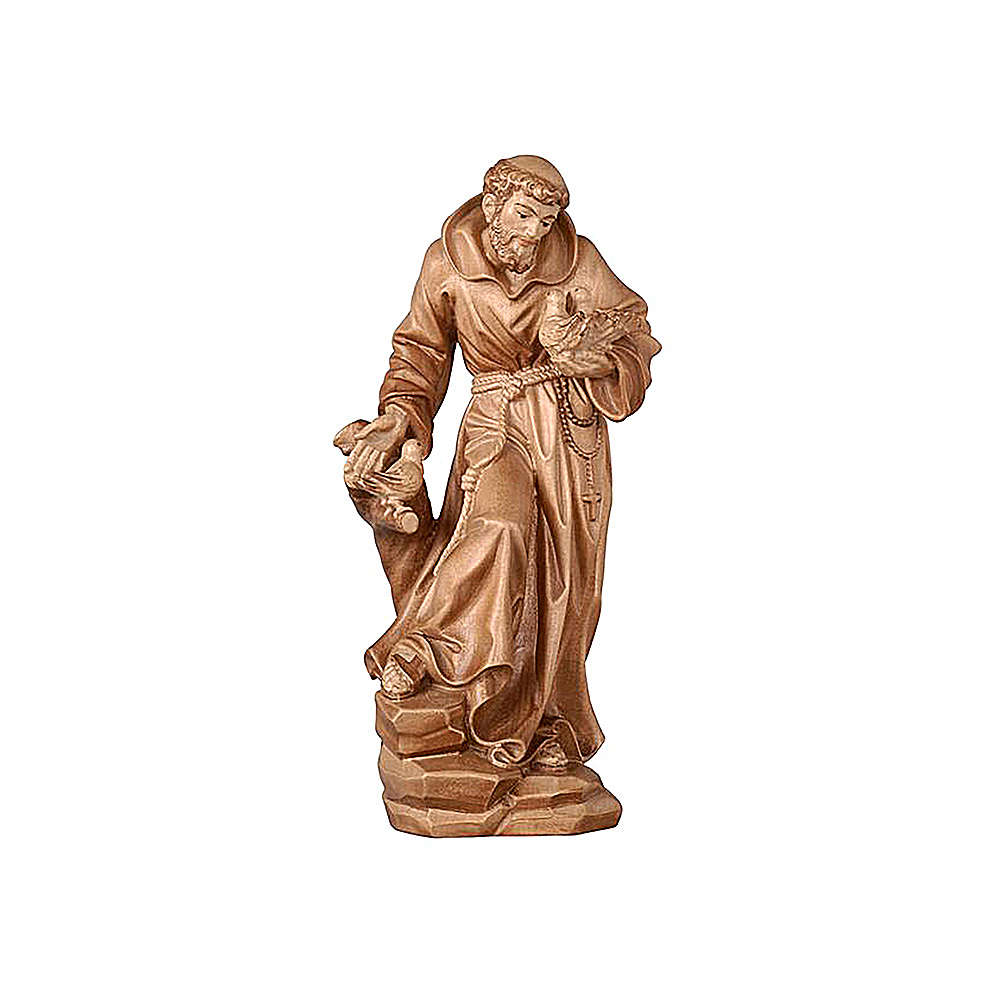 Saint Francis statue burnished in 3 colours realistic style 4