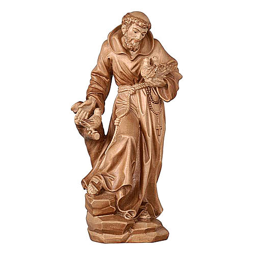 Saint Francis statue burnished in 3 colours realistic style 1