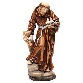 Statues en bois peint: Statue Saint François coloré réaliste