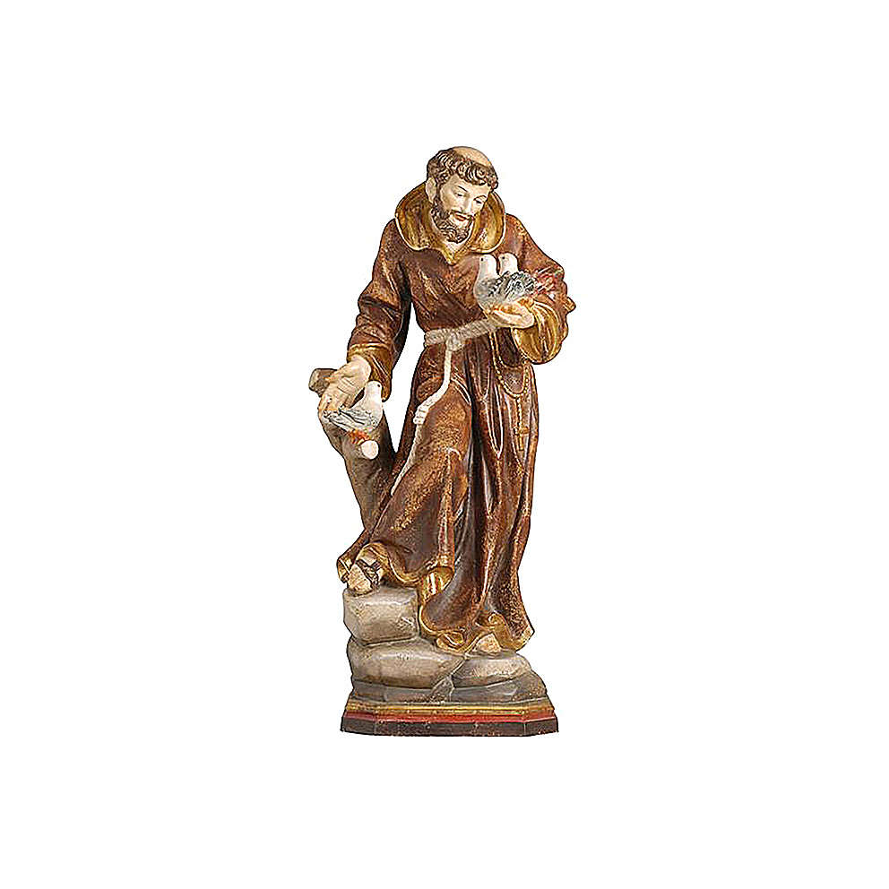 Saint Francis statue finished in pure gold Val Gardena realistic style 4