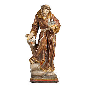 Saint Francis statue finished in pure gold Val Gardena realistic style s1