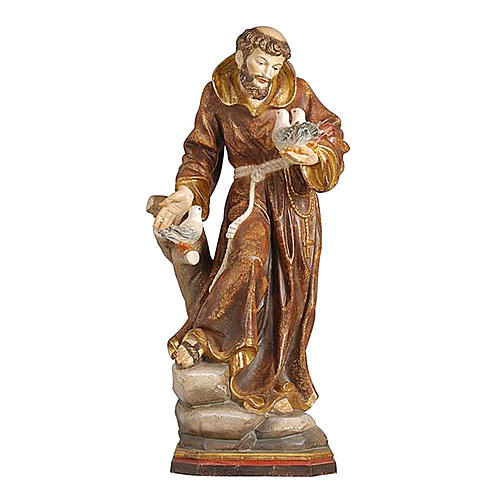 Saint Francis statue finished in pure gold Val Gardena realistic style 1