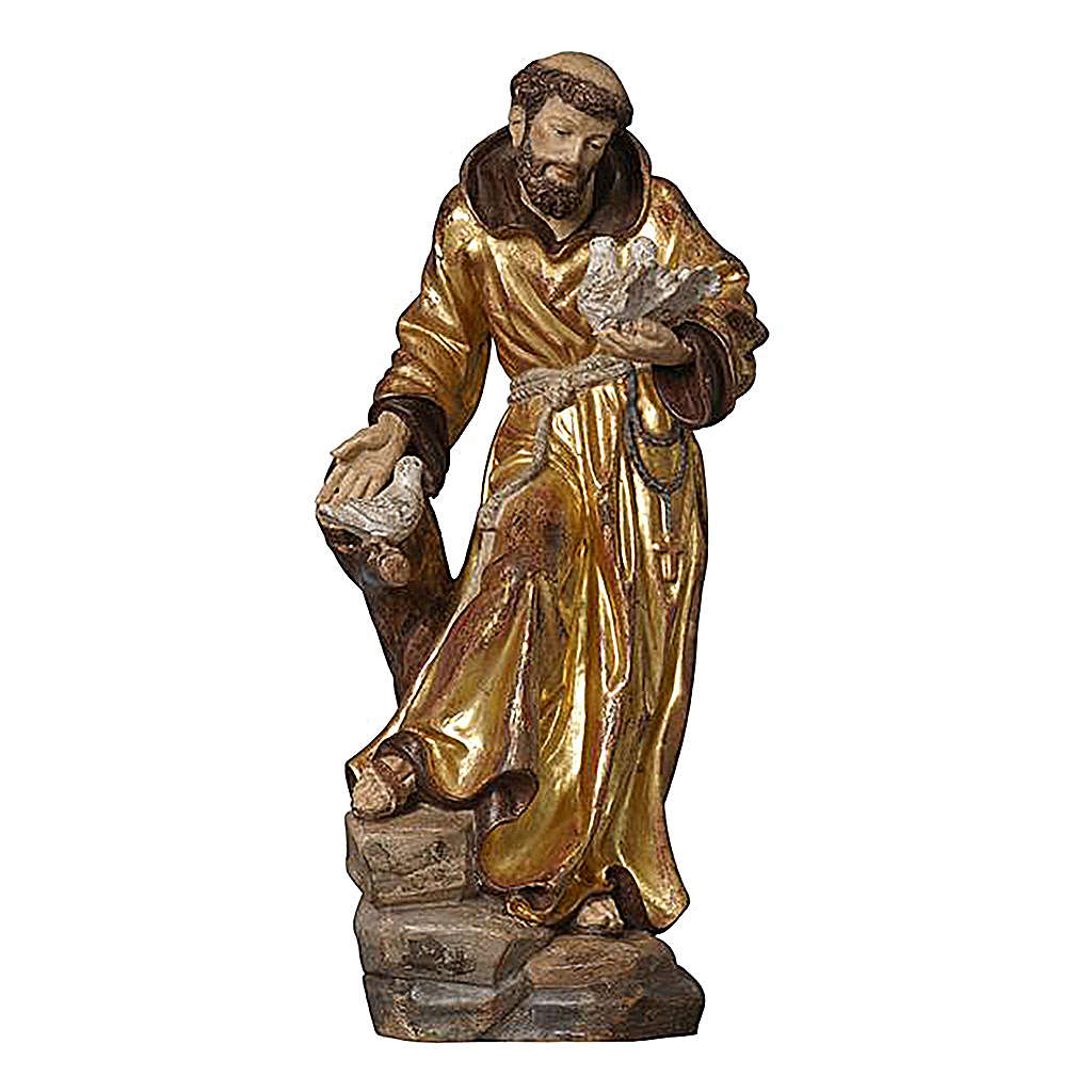 Estatua San Francisco capa oro de tíbar antiguo realístico 4