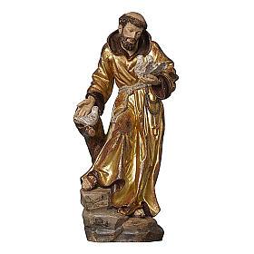 Statua San Francesco manto oro zecchino antico realistico s1
