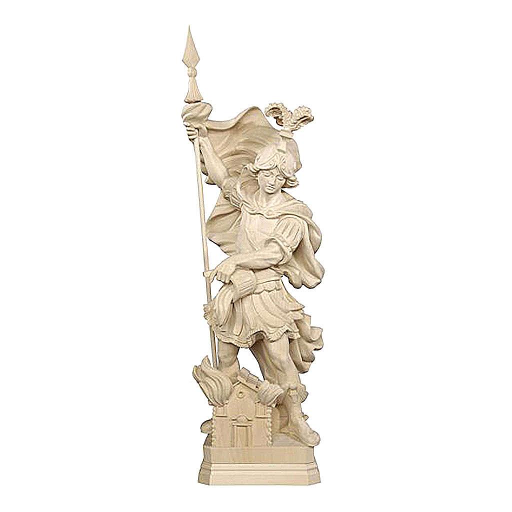 Statua San Floriano legno naturale 4