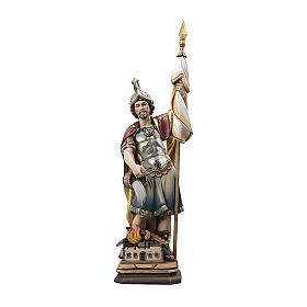 Statua San Floriano legno Valgardena colorato s1
