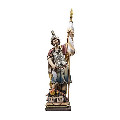 Statua San Floriano legno Valgardena colorato 1