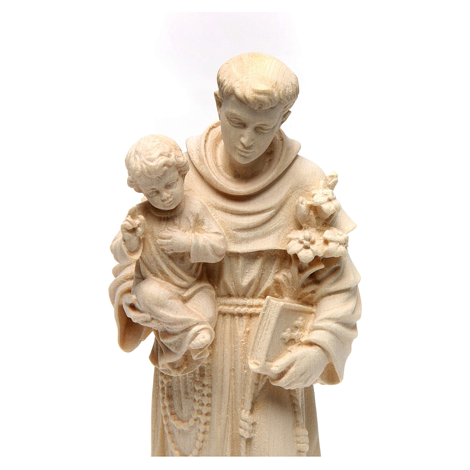 Saint Anthony with Baby Jesus statue in natural wood of Val Gardena 4