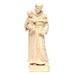 Saint Anthony with Baby Jesus statue in natural wood of Val Gardena s1
