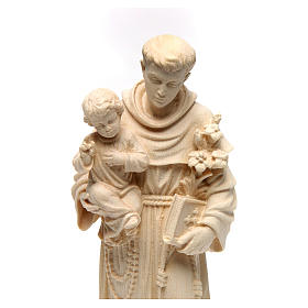 Saint Anthony with Baby Jesus statue in natural wood of Val Gardena s2