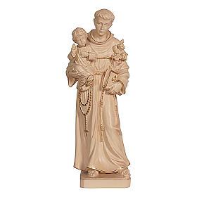 Imágenes de madera natural: Estatua San Antonio con Niño cera hilo oro