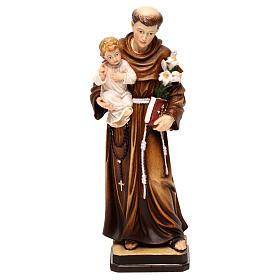 Hand painted wooden statues: Saint Anthony with Child coloured statue Val Gardena