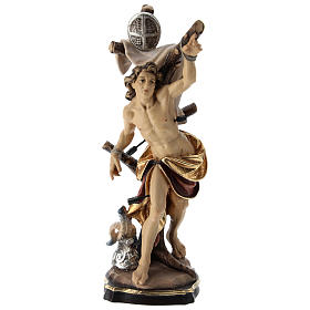 Hand painted wooden statues: Saint Sebastian statue coloured Val Gardena