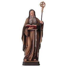 Statues en bois peint: Saint Benoît coloré Val Gardena