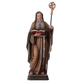 Hand painted wooden statues: Saint Benedict statue coloured Val Gardena