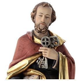Statue de Saint Pierre bois coloré s2