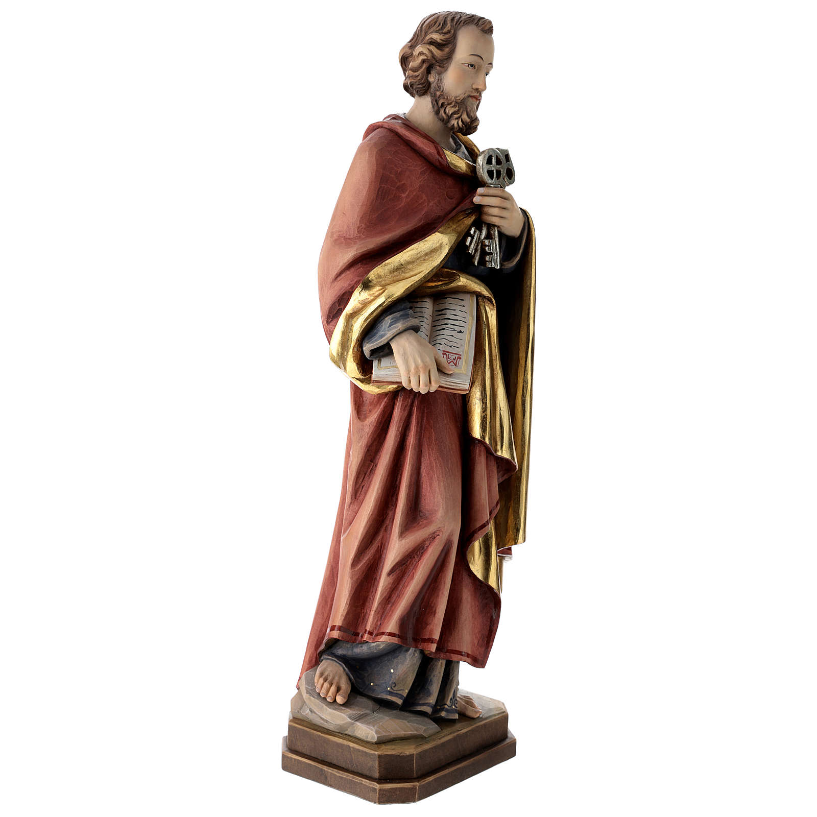 Saint Peter statue in coloured wood 4