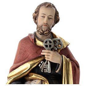 Saint Peter statue in coloured wood s2