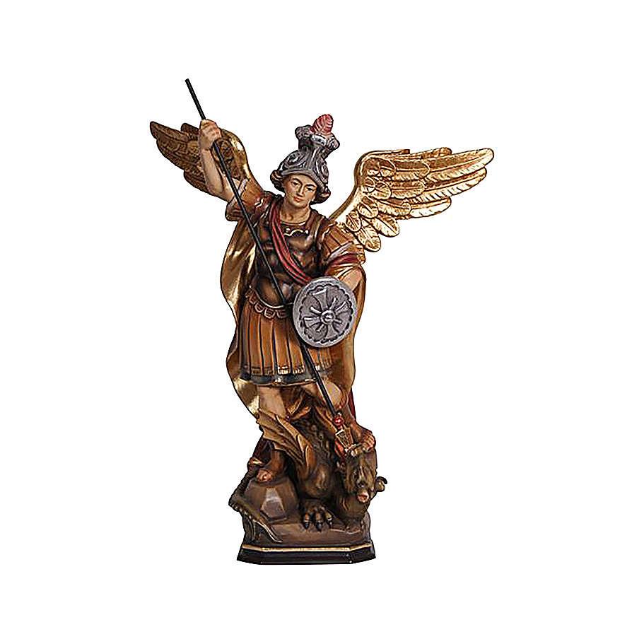 Statua San Michele legno Val Gardena colorato 4