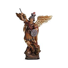 Statua San Michele legno Val Gardena colorato s2