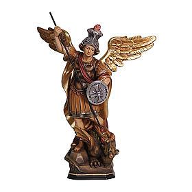 Statua San Michele legno Val Gardena colorato s1