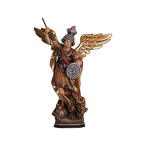Statua San Michele legno Val Gardena colorato 2