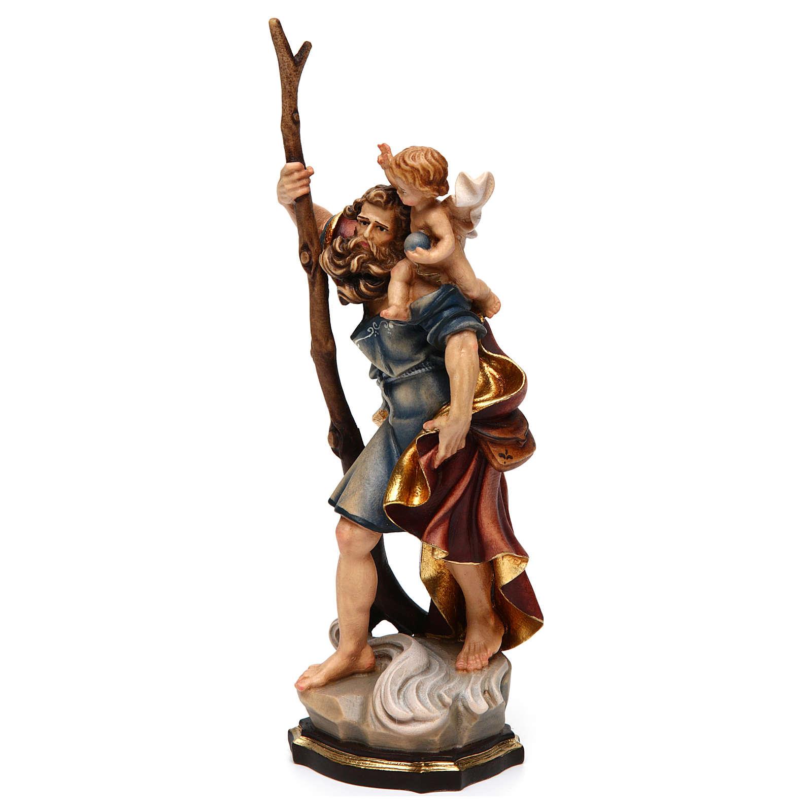 Statua San Cristoforo legno colorato 4