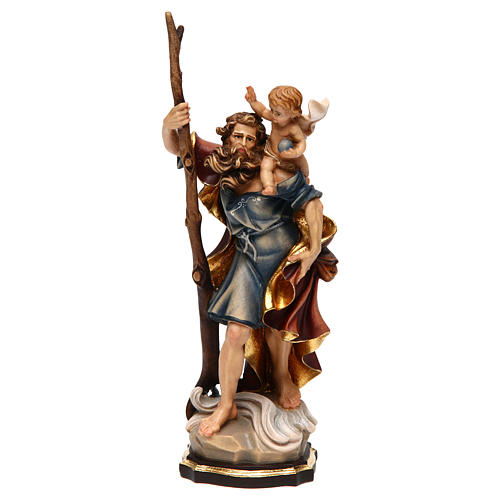 Statua San Cristoforo legno colorato 1