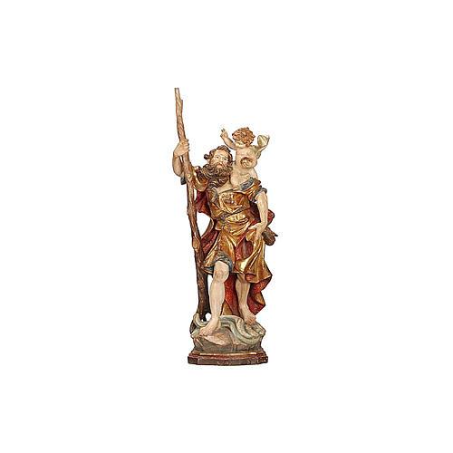 Statua S. Cristoforo 60 cm manto oro zecchino antico  2