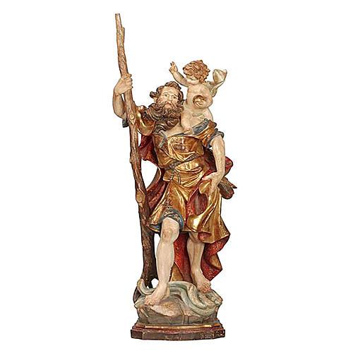 Statua S. Cristoforo 60 cm manto oro zecchino antico  1