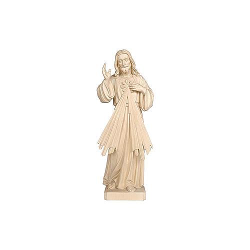 Statua Gesù Misericordioso legno naturale 3