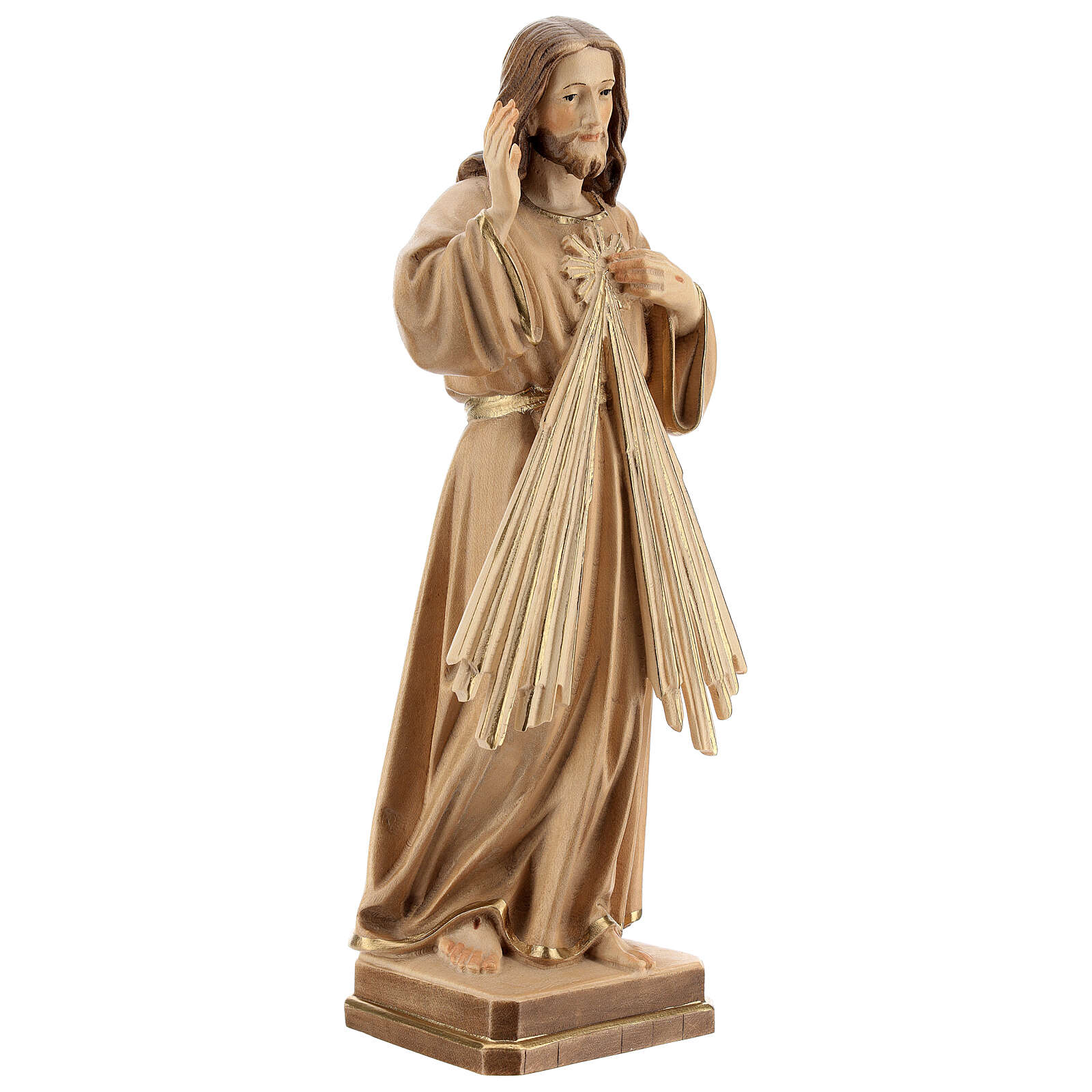 Estatua Jesús Misericordioso madera natural 4