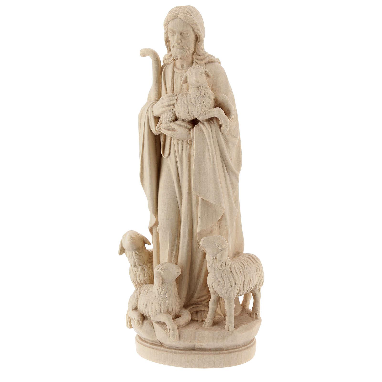 Statue Jesus Guter Hirte Grödnertal Naturholz 4