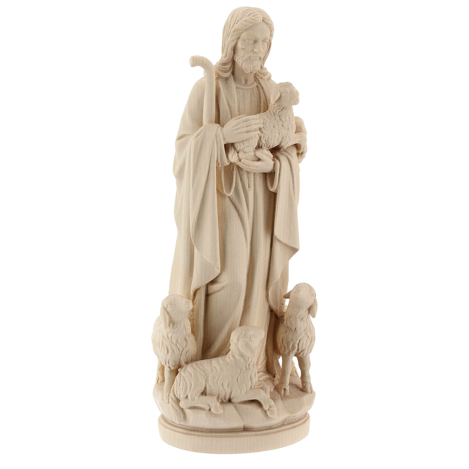 Jesus the Good Shepherd statue in natural wood 4